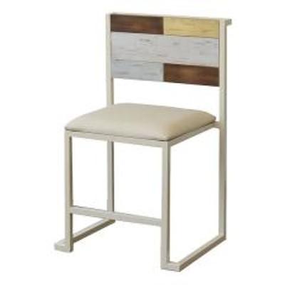 ダイニングチェア 2脚セット 椅子 CHROME 天然木 スチールフレーム 座面高44cm(  チェア チェアー ダイニングチェアー セット USED加工 ユーズド加工 カラフル アースカラー セット品 スタッキングチェア イス アイアンフレーム )
