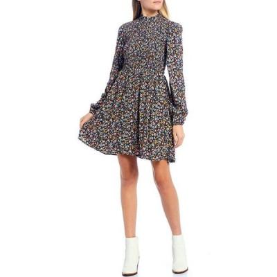 ジービー レディース ワンピース トップス Floral Print High Neck Long Sleeve Smocked A-Line Dress