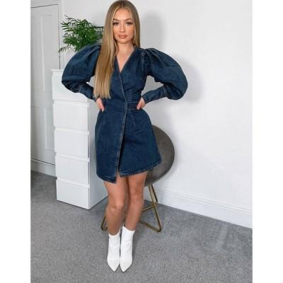 エイソス ASOS DESIGN レディース ワンピース デニム ラップドレス Denim pleat sleeve tie back wrap dress in midwash blue ウォッシュブルー