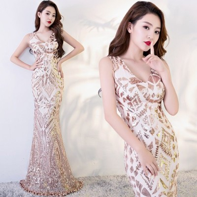 優美な カラードレス パーティードレス 舞台ドレス 二次会 演奏会 XS-4XL  ゴールド