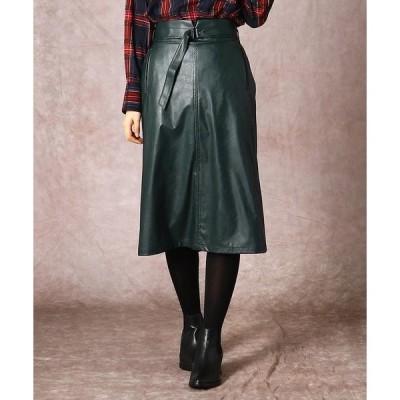COMME CA / コムサ エコレザー セミタイトスカート
