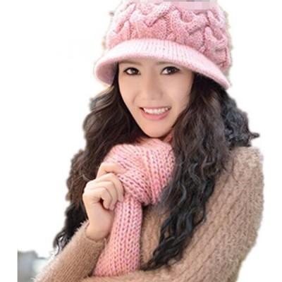 ウインターセット メンズファッション スカーフ 手袋 キャップ 2014 New Winter Warm Girls Wool Hat/Scarf Set Women Knitted Hats Scarf Windproof Crochet