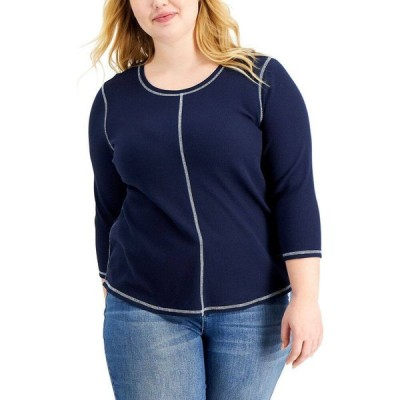 スタイル&コー Style & Co レディース トップス 七分袖 大きいサイズ Plus Size Waffle-Knit 3/4-Sleeve Top Industrial Blue