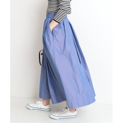 【イエナ】 シャンブレータフタギャザースカート◆ レディース ブルー 38 IENA