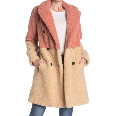 BCBジェネレーション レディース ジャケット&ブルゾン アウター Colorblock Faux Fur Fuzzy Coat BLUSH/NATU