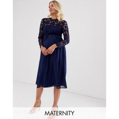 チチロンドン レディース ワンピース トップス Chi Chi London Maternity crochet lace midi dress with chiffon skirt in navy