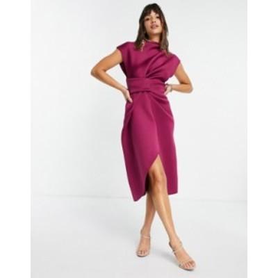 エイソス レディース ワンピース トップス ASOS DESIGN high neck tuck midi pencil dress in raspberry Raspberry