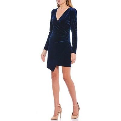 ティーズミー レディース ワンピース トップス Long Sleeve Velvet Faux-Wrap Dress