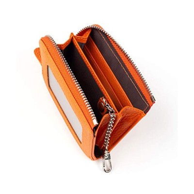 Shoebill パスケース 定期入れ 小銭入れ メンズ レディース コインケース レザー 本革 キーチェーン (オレンジ)