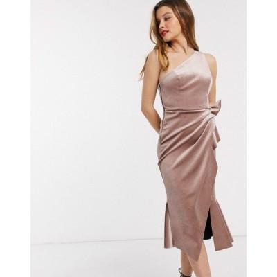 エイソス ASOS DESIGN レディース ワンピース ワンピース・ドレス velvet one shoulder tuck detail midi dress シャンパン