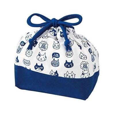 竹中 日本製 巾着袋 ねこだまり ランチ巾着 ブルー T-66446