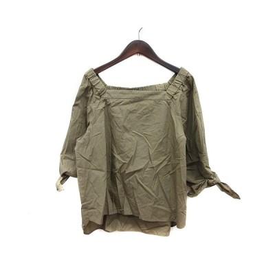 【中古】クローラ crolla ブラウス オフショルダー 七分袖 36 緑 カーキ /MN レディース 【ベクトル 古着】