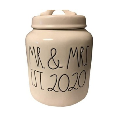 Rae Dunn by Magenta Artisan Collection Ivory Canister MR. & MRS. EST. 2020
