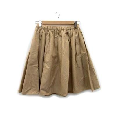 【中古】ロペ ROPE スカート ギャザー フレア ひざ丈 薄手 7 ベージュ /MS37 レディース 【ベクトル 古着】
