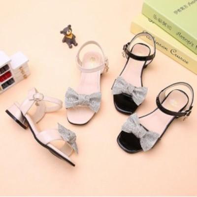キッズサンダル女の子子供靴フォーマルシューズジュニアラインストーンマジックテープ靴学生子供用キッズシューズ 子供服