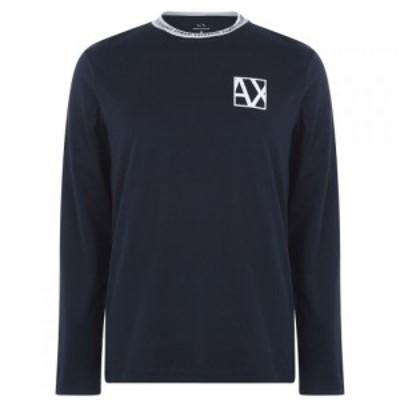 アルマーニ Armani Exchange メンズ 長袖Tシャツ トップス AX Contrast LS Tee Sn94 Navy