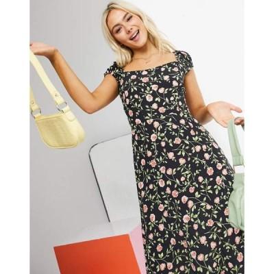 ミスセルフフリッジ レディース ワンピース トップス Miss Selfridge floral print lace-up back midi dress in black Black