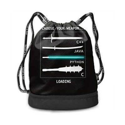 Drawstring Backpack With Funny Computer Weapons Print, String Bag Foldable