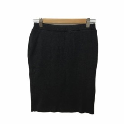 【中古】マウジー moussy スカート ニット タイト ミニ リブ ウエストゴム FREE 黒 ブラック レディース