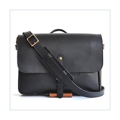 "Marlondo Leather Postal Messenger Bag - Full Grain leather, Solid Brass Hardware (14"", Black)並行輸入品"