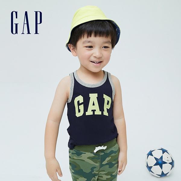 Gap男幼童 布萊納系列 Logo撞色純棉運動背心 701453-藏青色
