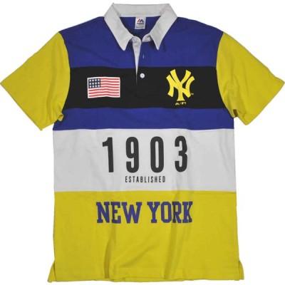 ヤンキース ポロシャツ切り替え 綿100% MAJESTIC マジェスティック Mサイズ yel2イエロー MM04NYK8s05