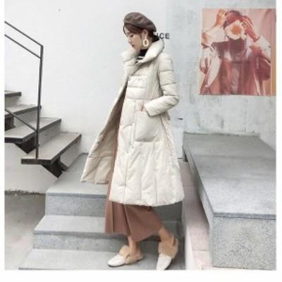 女性 ロング丈 アウター 軽量 防風 キレイめ 暖かい フォーマル 通勤 OL オフィス 着痩せ ファッション 冬 防寒 ダウンコート 中綿 ダウ