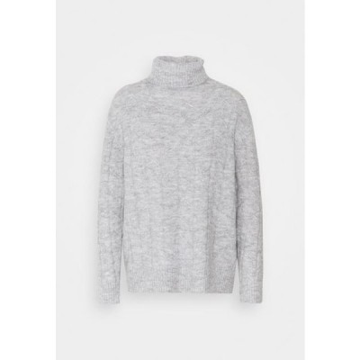レディース ファッション CABLE LONG LINE - Jumper - mottled light grey