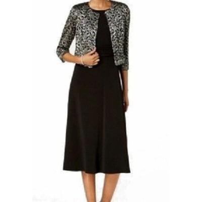Jessica Howard ジェシカハワード ファッション ドレス Jessica Howard NEW Black Womens Size 6 Metallic Lace 2 PC A-Line Dress