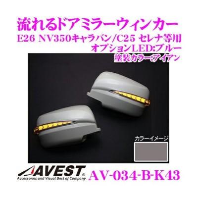 流れるLEDドアミラーウィンカーレンズ AVEST アベスト AV-034-B 塗装カラー:アイアン(K43)