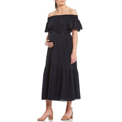 アレックスマリー レディース ワンピース トップス Maternity Chelsea Crepe de Chine Off-the-Shoulder Ruffle Tiered Hem Maxi Dress