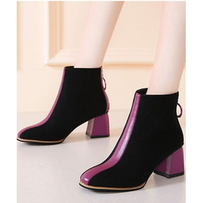 STYLEBLOCK / 配色バックジップスエード調チャンキーヒールショートブーツ WOMEN シューズ > ブーツ