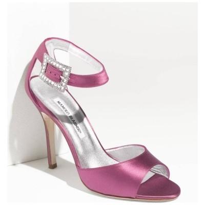 ハイヒール マノロブラニク Manolo Blahnik DRIBBIN Pink SATIN JEWELED Sandals Evening Shoes 40.5