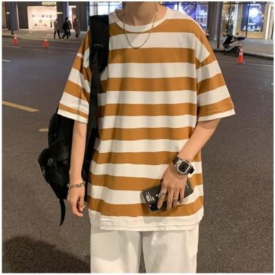 メンズ Tシャツ 半袖 カジュアル クールネック ボーダー インナー 夏 男子 トップス