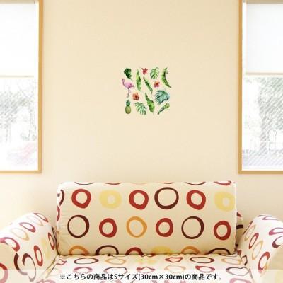 ウォールステッカー 飾り 30×30cm シール式 装飾 おしゃれ 壁紙 はがせる 剥がせる カッティングシート wall sticke  フラミンゴ パイナップル 南国 014789