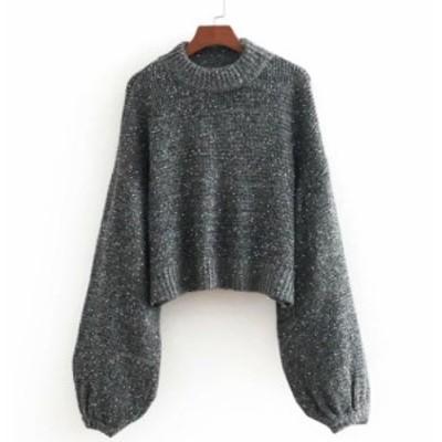 ニット ランタンスリーブ  セーター  スパンコール オーバーサイズ