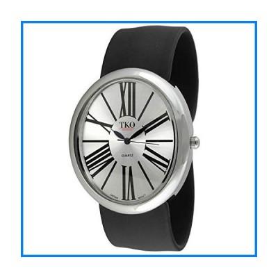 (輸入品)TKO Women Oversized Silver Wrist Slap Watch with Roman Numerals & Silicone Slip-On Bracelet with Magnetic Closure