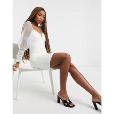トップショップ レディース ワンピース トップス Topshop organza body-conscious puff sleeve dress in ivory Ivory