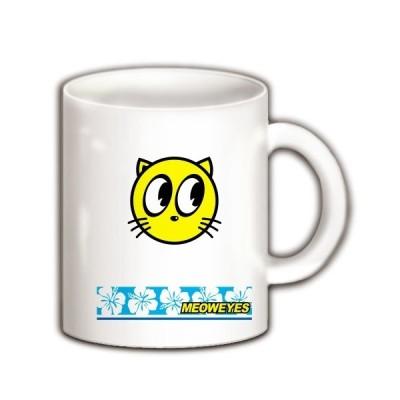 猫のニャーン声と視線(ハイビスカス) マグカップ(ホワイト)