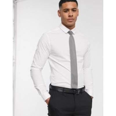 エイソス メンズ シャツ トップス ASOS DESIGN skinny fit shirt in white WHITE