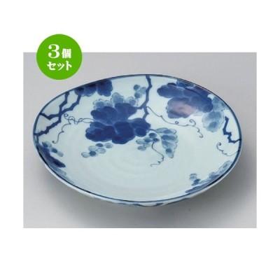 3個セット ☆ 丸皿 ☆藍染ぶどう6.0皿 [ 18.9 x 3.2cm 370g ] 【 料亭 旅館 和食器 飲食店 業務用 】