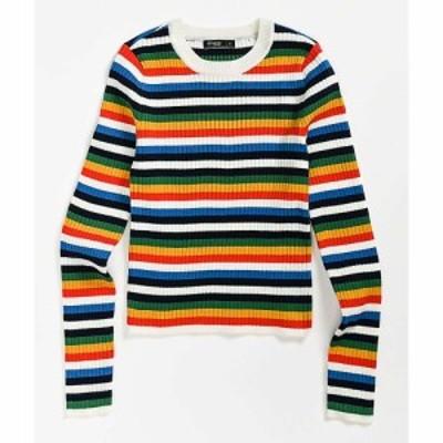 エティック ETHIK レディース ニット・セーター トップス ethos skimmer multi stripe crewneck sweater Assorted