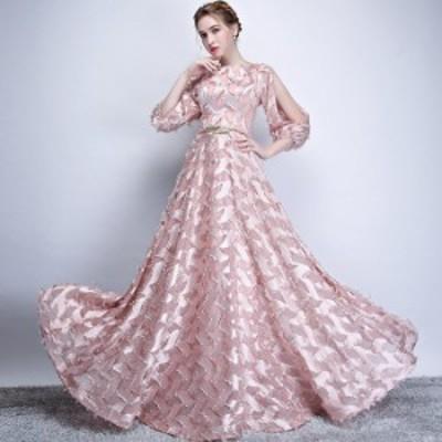 ングドレス 演奏会 大人 ドレス ロング 発表会 パーティードレス 結婚式 ドレス 袖あり ウェディングドレス パーティー ドレス お呼ばれ