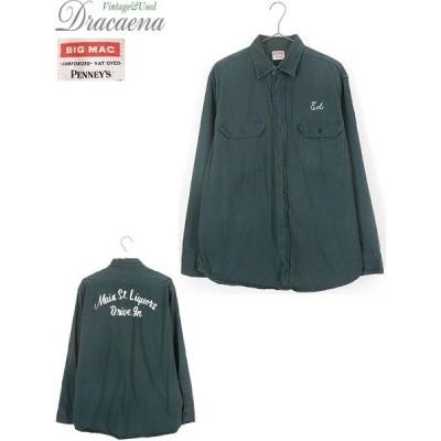 古着 シャツ 60s BIG MAC Penney's チェーン 刺しゅう マチ付 VAT DYED ワーク シャツ XL位 古着