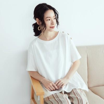 コムサイズム COMME CA ISM ショルダー釦バックフレアTシャツ (ホワイト)