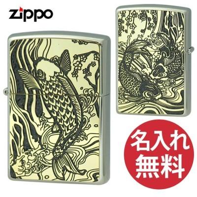 zippo ジッポー 2MPP-Carp GY GP GP&Paint グレー ゴールド 200 フラットボトム メタルペイントプレート 鯉 和柄