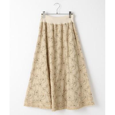 INGEBORG/インゲボルグ 【EC先行販売】Cローンフラワー刺繍スカート ベージュ×ブラウン フリーサイズ
