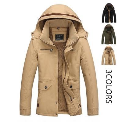中綿ジャケット メンズ 裏起毛 帽子付き 男性 ミリタリージャケット保温 防風 防寒 4XLまで 冬物 大きいサイズ