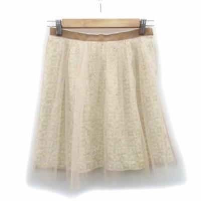 【中古】アプワイザーリッシェ Apuweiser-riche スカート チュール フレア ミニ丈 花柄 2 ベージュ レディース