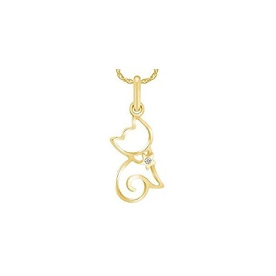 Wishrocks Round Natural Diamond Cute Cat Pendant Necklace In 10K Yellow Gol